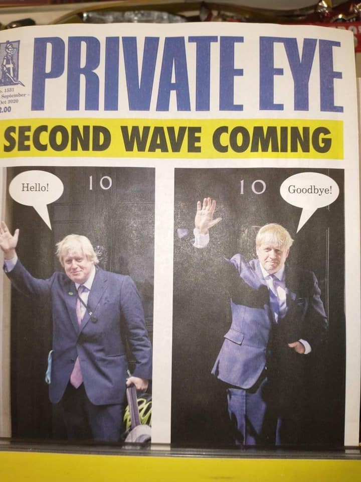 """Second Wave Coming"" poster with Boris Johnson waving hello, and waving goodbye."