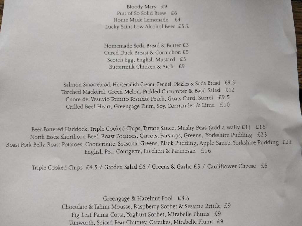 The Bull And Last Roast Dinner Menu