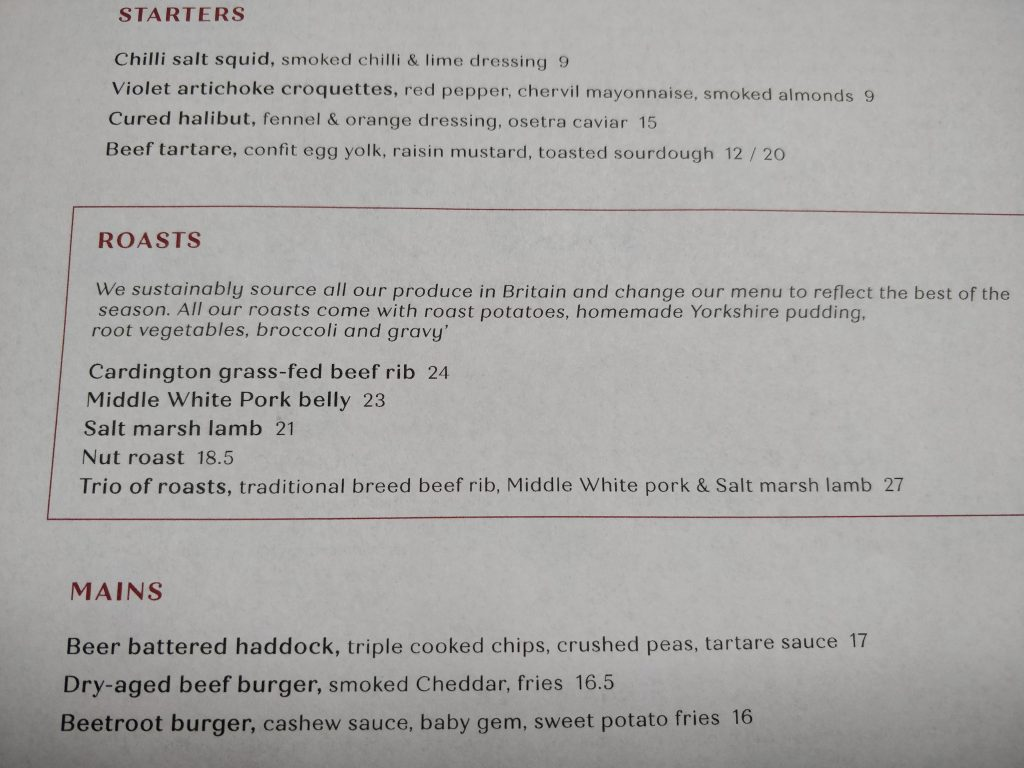 The Grazing Goat, Marylebone, Beef Roast Dinner Menu