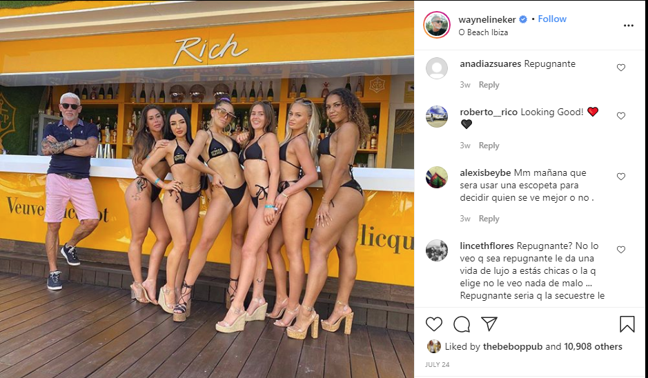 "Wayne Lineker with women in binikis, and comment saying ""repugnante"""