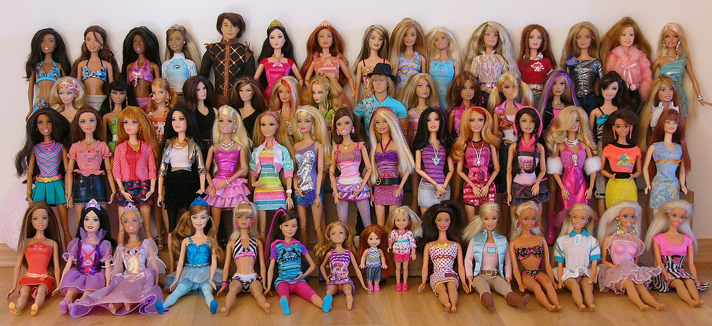A very large collection of Barbie dolls