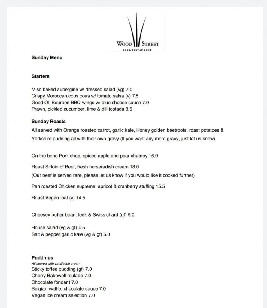 Wood Street Bar & Restaurant, Barbican, Roast Dinner Menu