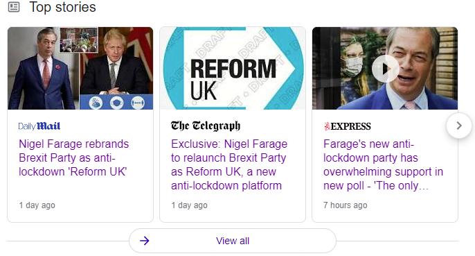 News headlines advising Nigel Farage's new anti-lockdown party