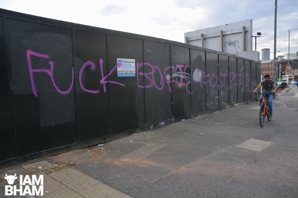 """""""Fuck Boris Racist Prick"""" graffiti"""