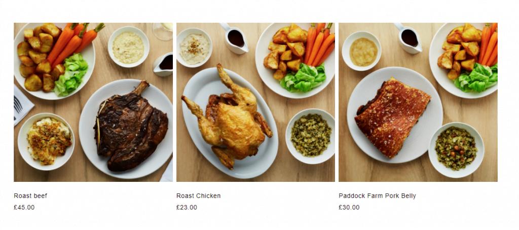 Townsend Restaurant roast dinner kit choices
