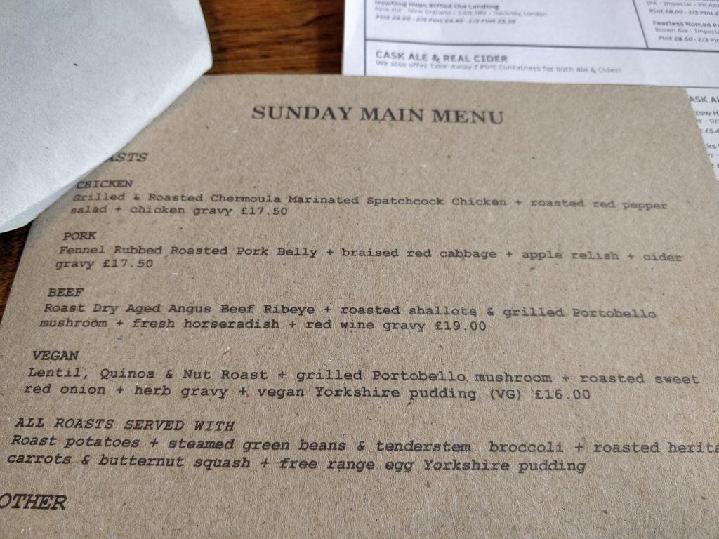 Black Dog Beerhouse, Brentford, Roast Dinner menu