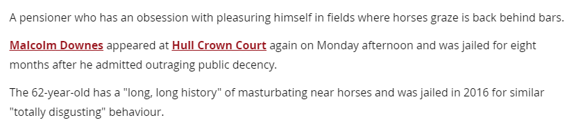 News story about pensioner who pleasures himself near horses