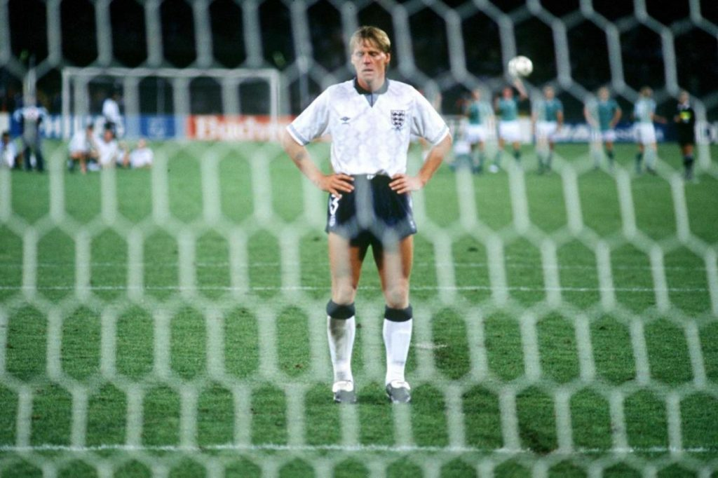 Stuart Pearce upset after missing penalty at Italia 90.