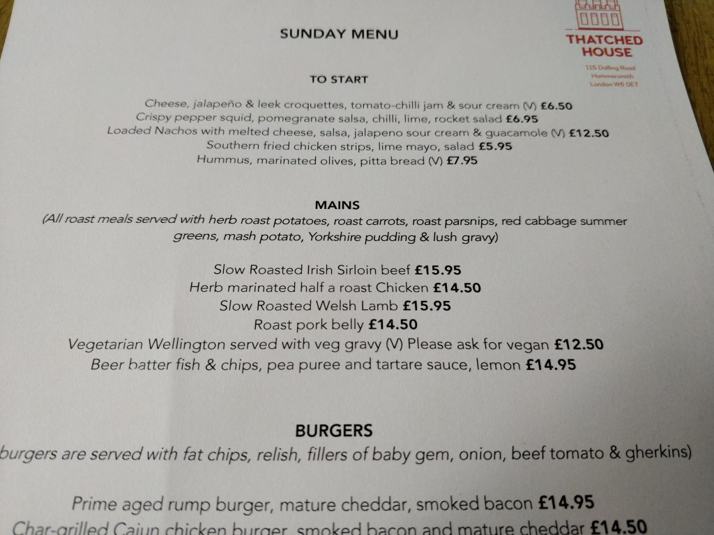 Thatched House, Hammersmith, Sunday roast menu