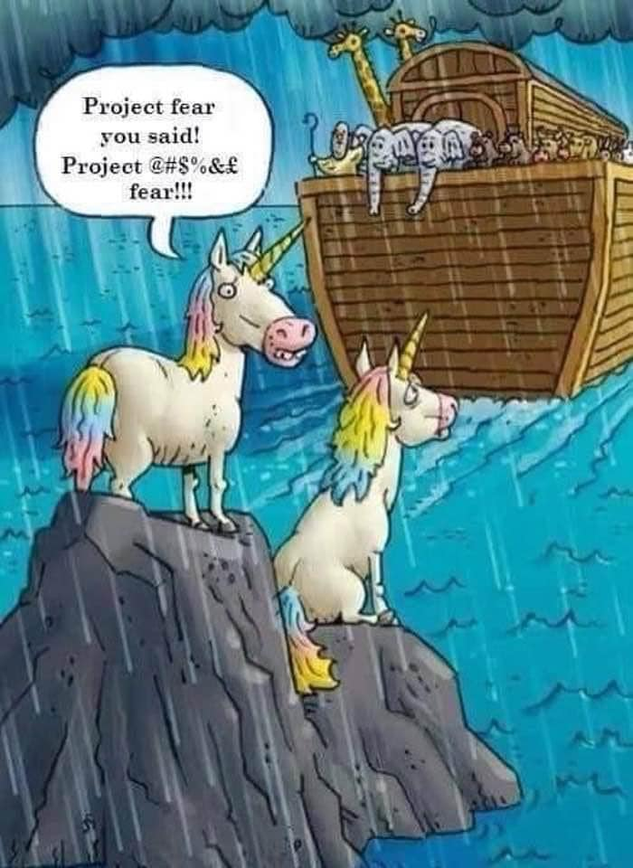 Meme about Project Fear and unicorns looking at an ark sailing away