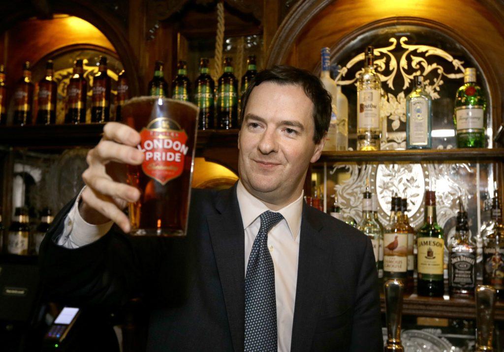 George Osborne drinking London Pride