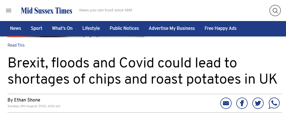 Mid Sussex Times with story about Brexit leading to shortage of roast potatoes