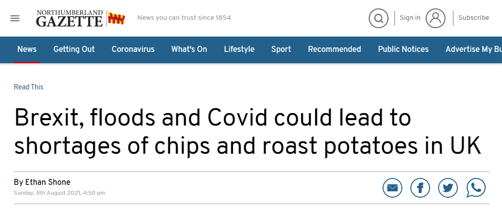 Northumberland Gazette with story about Brexit leading to shortage of roast potatoes