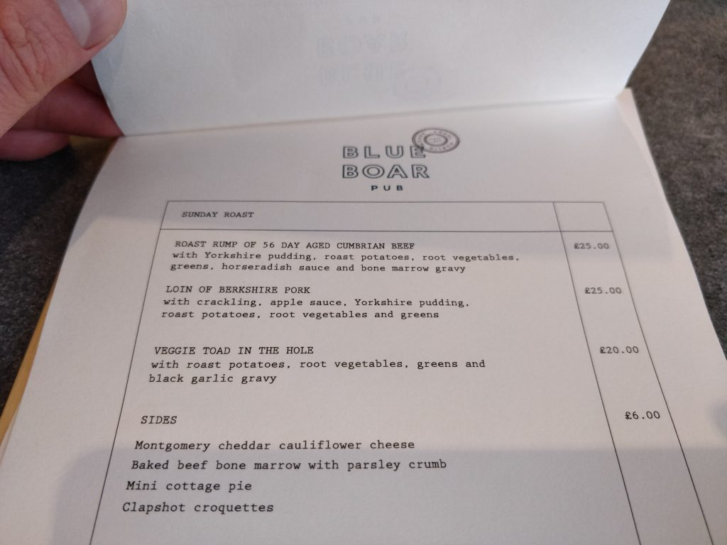 The Blue Boar, Westminster, Sunday Roast