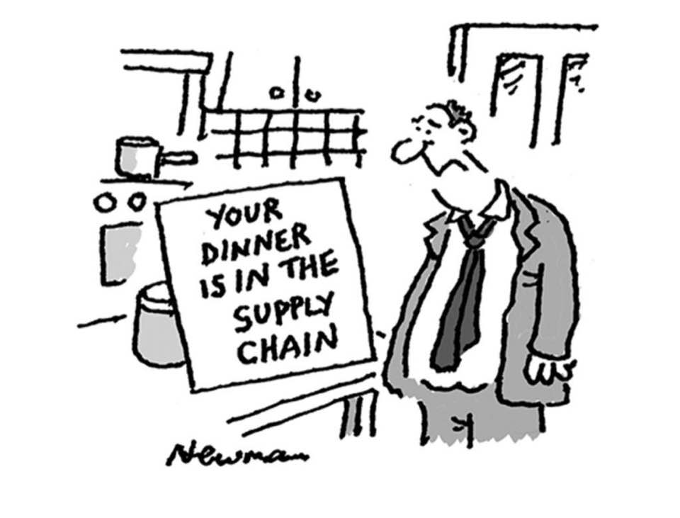 """""""Your dinner is in the supply chain"""" cartoon."""
