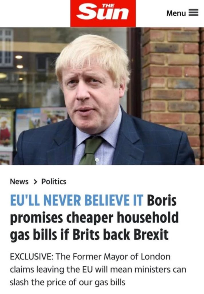 Boris Johnson lying about gas bills going down if we vote to leave the EU