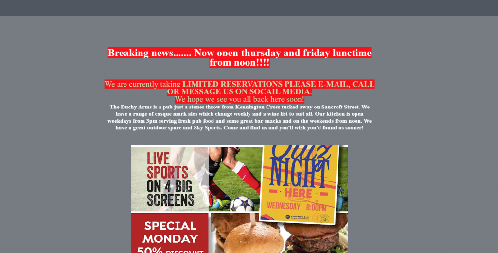 Awful website design of The Duchy Arms
