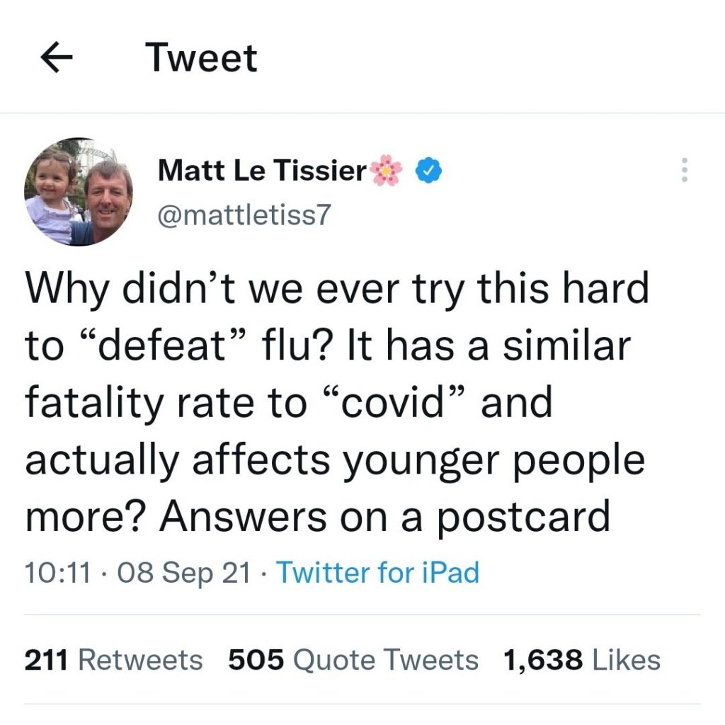 Matt Le Tissier tweet asking why we didn't try to defeat flu