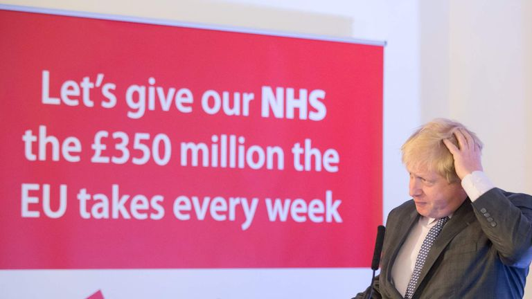 Boris Johnson lying about giving the NHS £350 million a week.