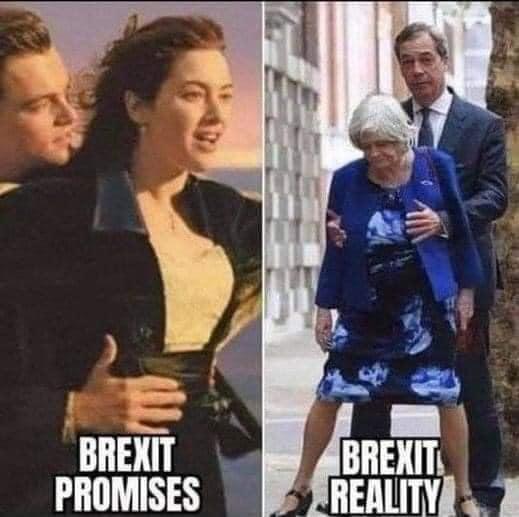 Brexit promises vs Brexit reality meme